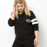 New Fashion Large Size Women Wild Casual Wear Hoodies Sweatershirts With Hat Black Plus Size Women's Pullovers