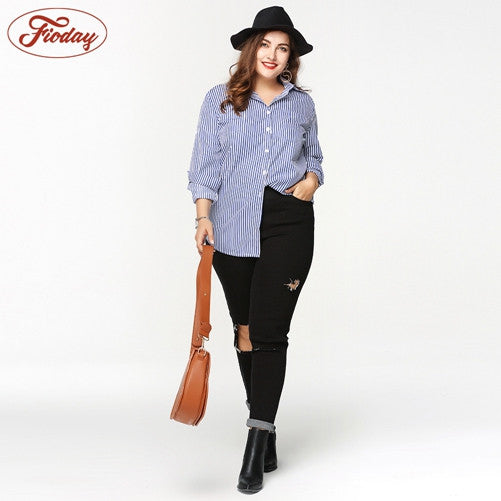 Fashion Striped Women Blouses Plus Size Female Shirts  Summer Women's Tops Wear For Office/Casual - Kristen Kim