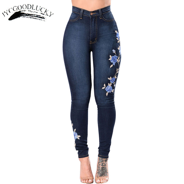 Embroidery Jeans  High Waist Woman Jeans Skinny Plus Size 3XL Winter Denim Jeans Women Clothing Slim Push Up Jeans