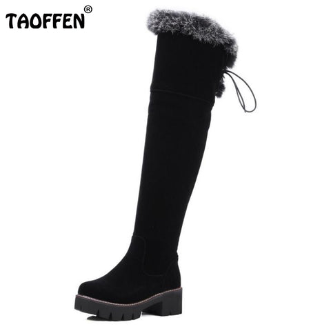 Shoes Women New Over The Knee Thigh High Boots Women Motorcycle Flats Long Botas Low Heel Seude Leather Shoes Size 34-43