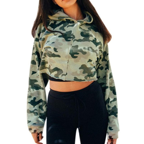 Camouflage Autumn Women blouse Long Sleeve Hooded Casual Sweatshirt Hoodie Pullover High Quality Cotton Short Blusas - Kristen Kim