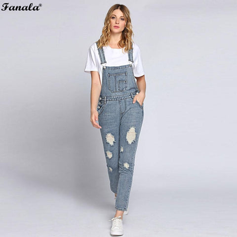 Autumn Jumpsuit Women Romper Jeans Jumpsuits Ripped Bleach Wash Overall Jeans Bandage Pocket High Waist Denim Bodie Pants