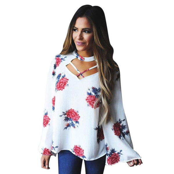 Sexy Halter Blouse Autumn Women Floral Printed Long Sleeve Shirt Loose Casual White Blouse Blusas Women Tops