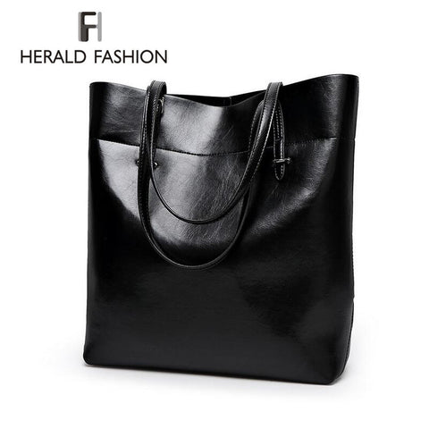 High Quality Leather Women Bag Bucket Shoulder Bags Solid Big Handbag Large Capacity Top-handle Bags
