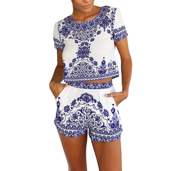 2 Pieces Clothes Set Women Short Sleeve Shorts and Crop Tops Casual Outfits