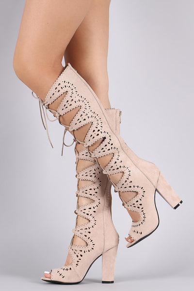 Perforated Scalloped Suede Lace-Up Boots