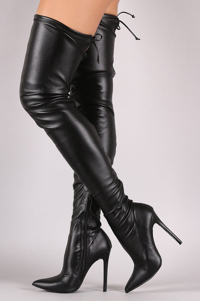 Liliana Leather Over the Knee Stiletto Boots