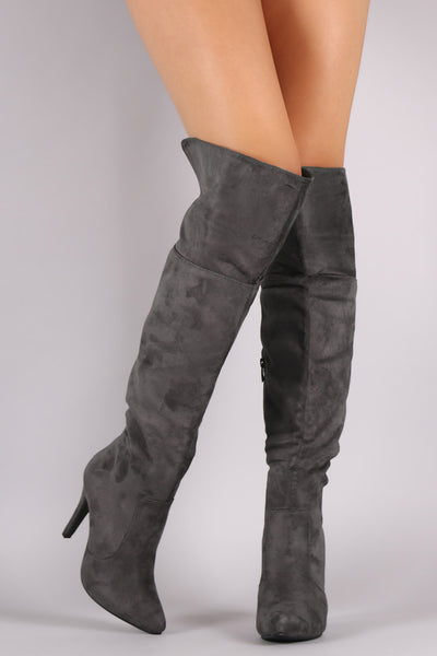 Suede Slit Pointy Toe Stiletto Over-The-Knee Boots