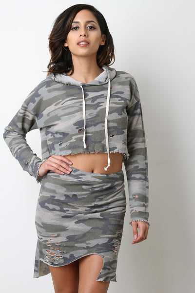Distress Terry Cloth Camo Hoodie Top
