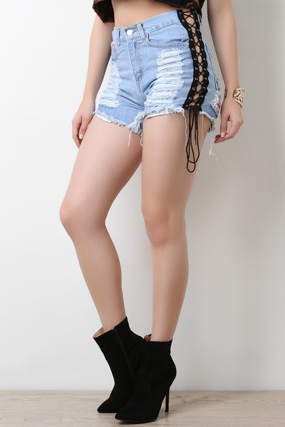 Sides Lace-Up High Waisted Denim Shorts