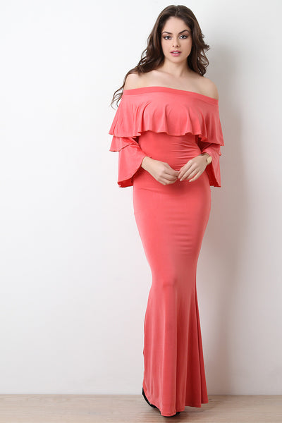 Off-The-Shoulder Tiered Ruffle Maxi Mermaid Dress