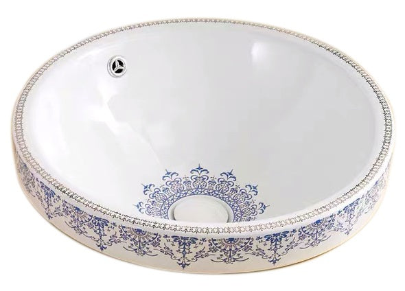 IN STOCK! VINTAGE LACE ROUND CERAMIC BATHROOM BASIN | MODERN CLASSIC DESIGN | 460MM