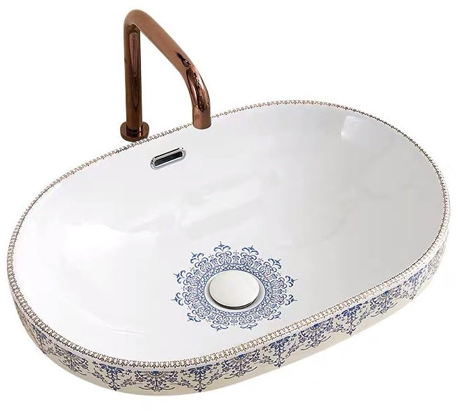 IN STOCK! VINTAGE LACE | OVAL CERAMIC BASIN | SEMI INSET | 400 x 600MM