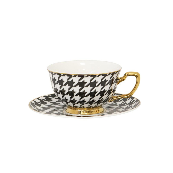 TEACUP + SAUCER  | EBONY HOUNDSTOOTH