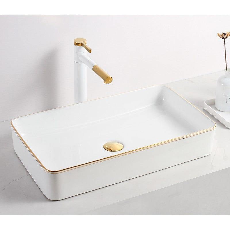 EUROPE | LINEAR BASIN | WHITE GLOSS + GOLD LINE | 600MM