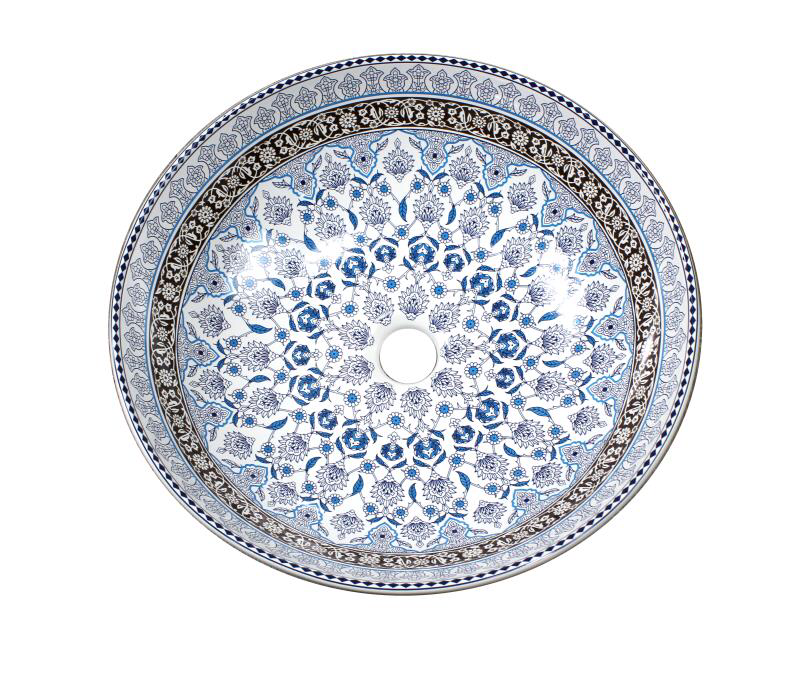MOROCCO | ABOVE COUNTER BASIN | DECAL PRINT | BLUE 400MM