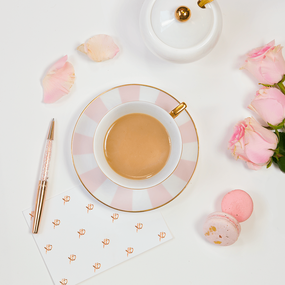 TEACUP + SAUCER | BLUSH STRIPES