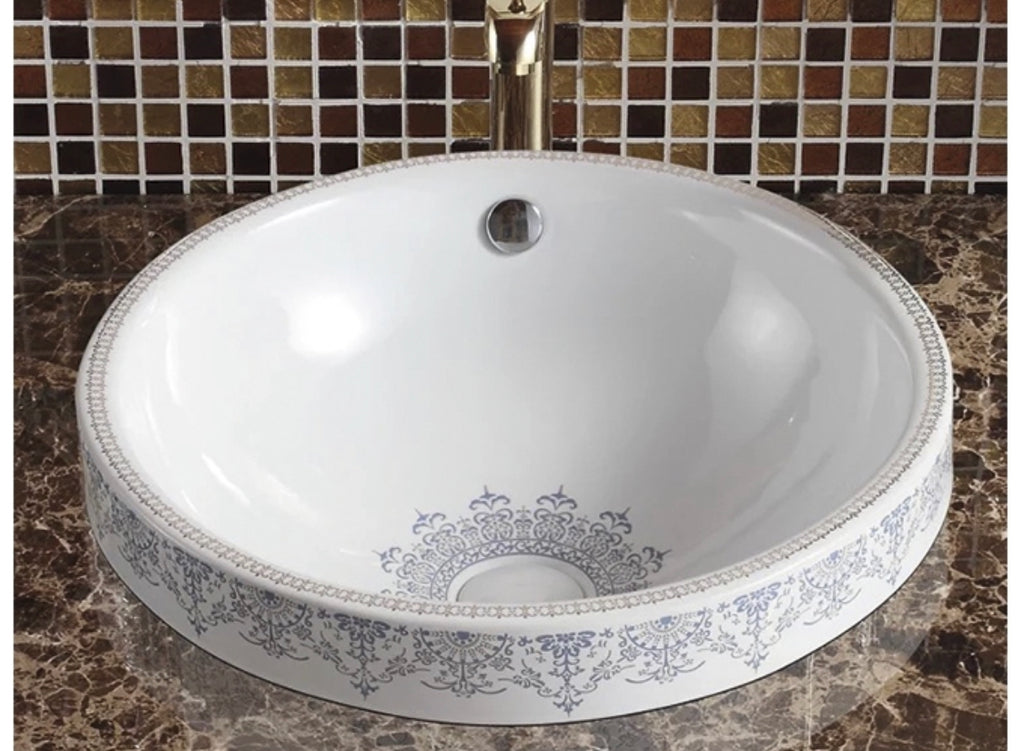 VINTAGE LACE ROUND CERAMIC BATHROOM BASIN | MODERN CLASSIC DESIGN | 460MM