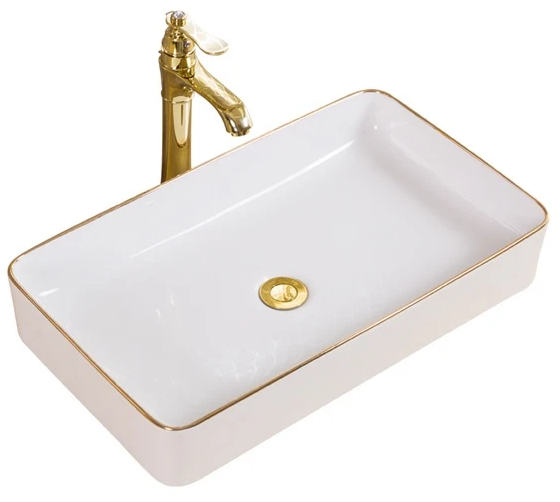 EUROPE LINEAR BASIN | WHITE GLOSS + GOLD LINE | 600MM