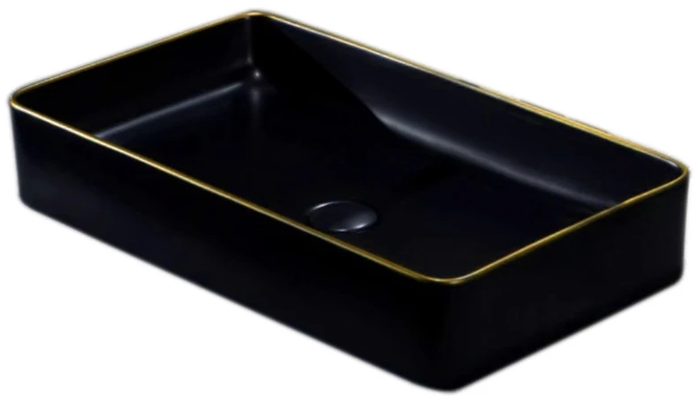 IN STOCK! EUROPE | BLACK + GOLD LINEAR BASIN 605 x 350 x 110 MM