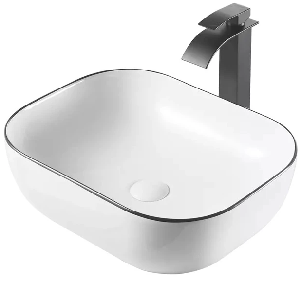 EUROPE LINEAR BASIN | WHITE GLOSS SOFT SQUARE 500MM