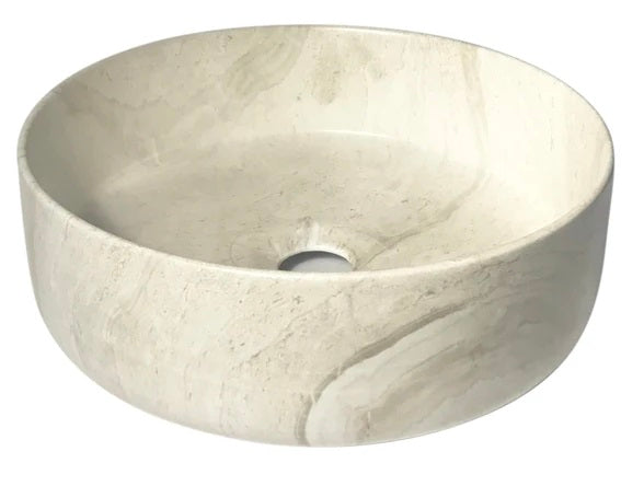 IN STOCK! SANDSTONE ROUND CERAMIC BASIN BATHROOM SINK MODERN CLASSIC  | 360 x 360 x 130mm