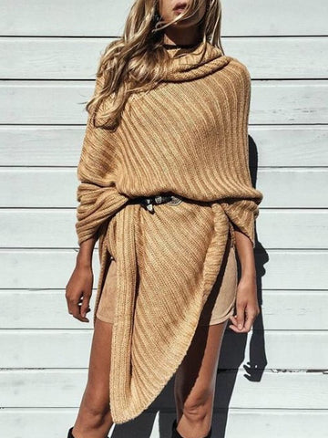 Caramel Turtleneck Poncho