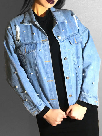 Pearl Beaded Ripped Denim Jacket