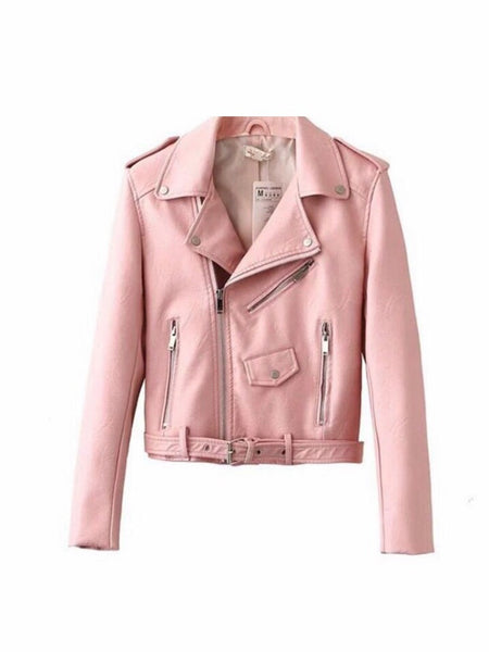 Pink Faux Leather Biker Jacket