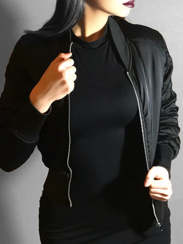 Black Spring Satin Bomber