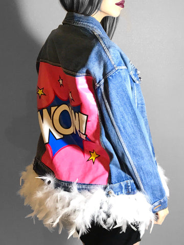 WOW Feathers Denim Jacket