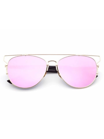 Rose Metal Frame Mirror Sunglasses