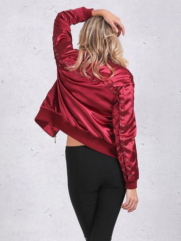Red Lace Satin Bomber Jacket