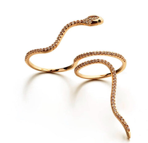 Crystal Snake Double Finger Ring