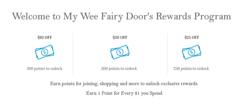 my wee fairy doors rewards program - earn points and save