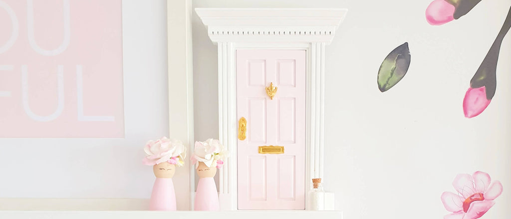 my wee fairy door pink marshmallow with decals