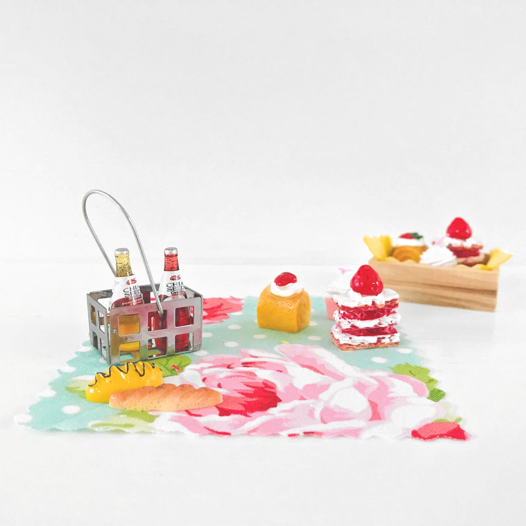 my wee fairy door picnic set is a fun set of our blanket, cakes and drinks