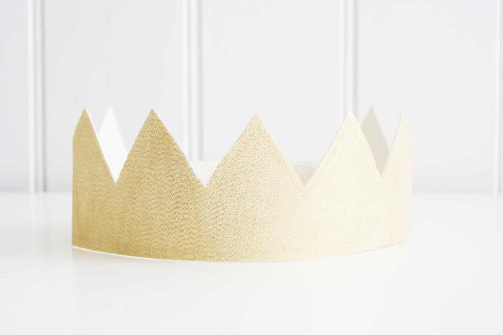 Fabric Crown - Ivory Linen and Gold