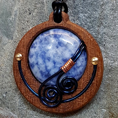 Wood + Wire + Agate Pendants