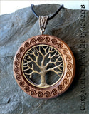 Tree of Life in silver or bronze finish on Iroko with carved Celtic spirals and matching bail.