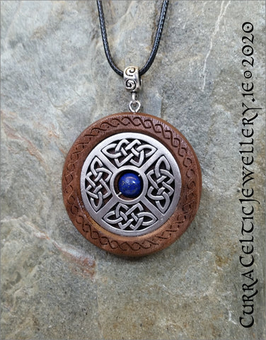 Black Walnut & Pewter Celtic Shield inlaid with a choice of beads (see pics) other beads available on request.