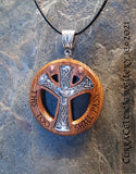 Nordic Style Amulet Pendant on Iroko hardwood with copper accents and optional engraved quote.