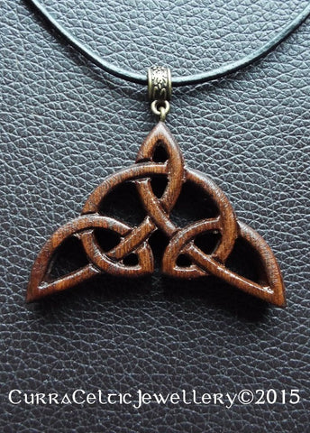 051 Celtic Triquetra II in black Walnut with bronze bail - Curra Celtic Jewellery