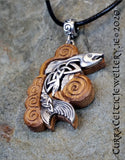 The 'Salmon of Knowledge' Pendant in silver on Iroko Hardwood. Inspired by an old Irish legend which you can read below.
