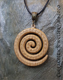 LARGE Single Spiral in Irish Oak. Pendant is double sided with matching Celtic weave bail in bronze.
