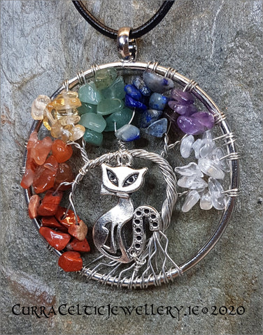 Tree of Life symbol wire wrapped in silver complete with Chakra bead chips and a silver Pusheen!
