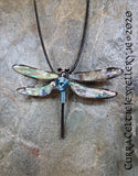 Dragonfly Pendant (or Brooch!) with Abalone Wings and spiral body in choice of coloured wire spirals for coordination (see pics)