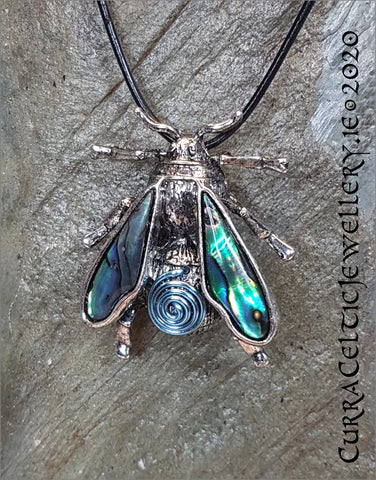Busy BumbleBee Pendant (or Brooch!) with Abalone Wings and spiral body in choice of coloured wire spirals for coordination (see pics)