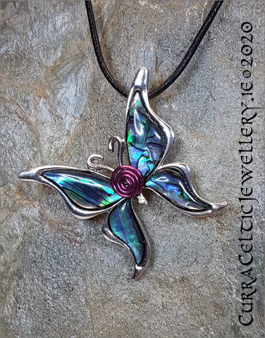 Beautiful Butterfly Pendant (or Brooch!) with Abalone Wings and spiral body in choice of coloured wire spirals for coordination (see pics)