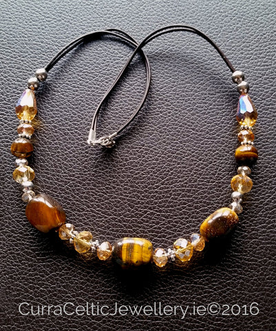 600 TIGER'S EYE Necklace with real agate & cut glass beads. - Curra Celtic Jewellery